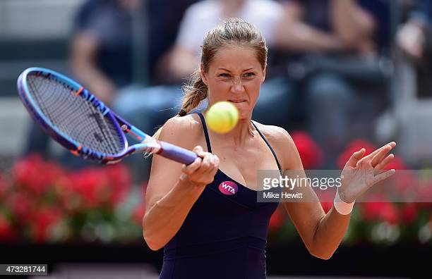 Qualifier Bojana Jovanovski of Serbia in action during her Third Round defeat to Maria Sharapova of Russia on Day Five of The Internazionali BNL...