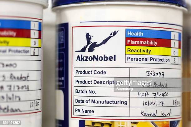 A quality control label is seen on a bucket of paint at an Akzo Nobel India Ltd factory in Gwalior Madhya Pradesh India on Thursday June 1 2017 Akzo...