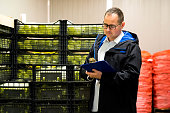 Young worker with eyeglasses standing in a storage room with crates of vegetable and he is holding a clipboard and looking at it.