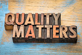quality matters word abstract - text in vintage letterpress wood type printing blocks
