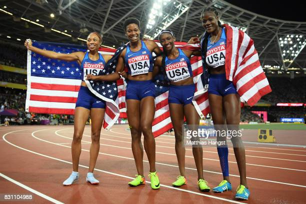 Quanera Hayes Allyson Felix Shakima Wimbley and Phyllis Francis of the United States celebrate winning gold in the Women's 4x400 Metres Relay final...