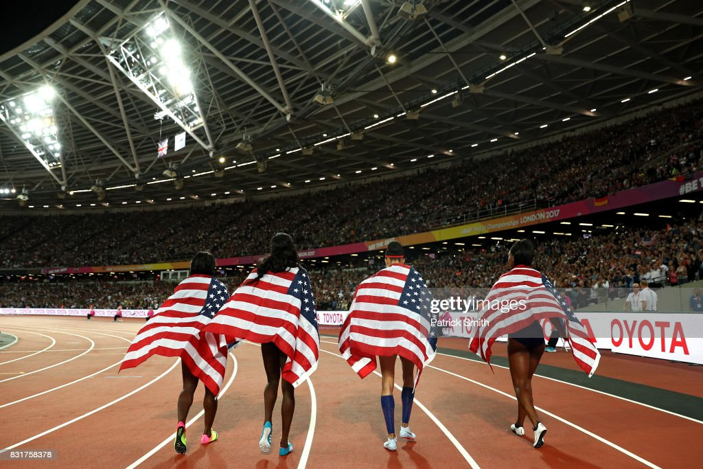 Quanera Hayes, Allyson Felix, Shakima Wimbley and Phyllis Francis of the United States celebrate winning gold in the Women's 4x400 Metres Relay final during day ten of the 16th IAAF World Athletics Championships London 2017 at The London Stadium on August 13, 2017 in London, United Kingdom.