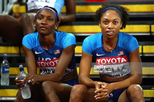 Quanera Hayes of the United States and Allyson Felix of the United States react after competing in the Women's 400 metres semi finals during day four...