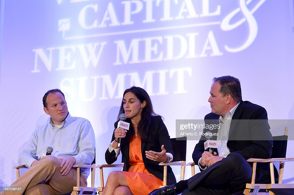 Quantifind Inc. CEO and co-founder Ari Tuchman, ShoeDazzle chief product officer Geraldine Martin-Coppola, and Andreessen Horowitz partner Todd Lutwak speak during Variety's Venture Capital & New Media Summit in association with International ESQ at Sofitel Hotel on June 27, 2012 in Los Angeles, California.