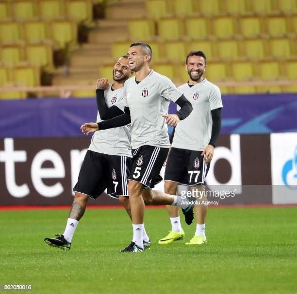 Quaresma Pepe and Gokhan Gonul of Besiktas attend a training session ahead of UEFA Champions League Group G match between Monaco and Besiktas at...