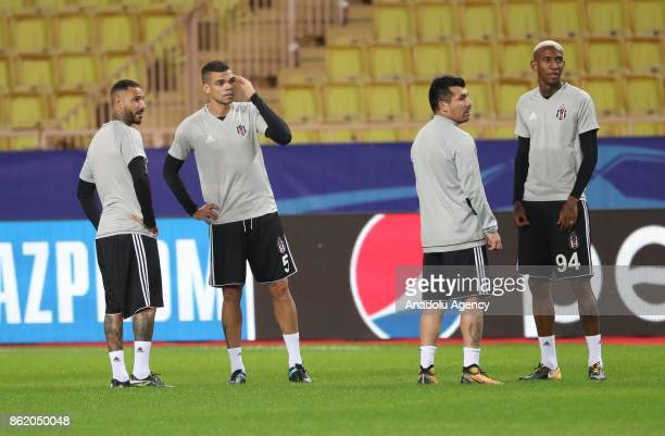 Quaresma Pepe Medel and Talisca of Besiktas attend a training session ahead of UEFA Champions League Group G match between Monaco and Besiktas at...