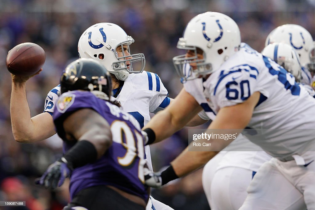 Quarrterback Andrew Luck #12 of the Indianapolis Colts throws a pass against the Baltimore Ravens during the AFC Wild Card Playoff Game at M&T Bank Stadium on January 6, 2013 in Baltimore, Maryland.