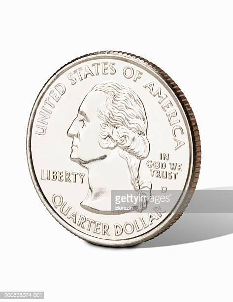 US quarter, against white background, close-up