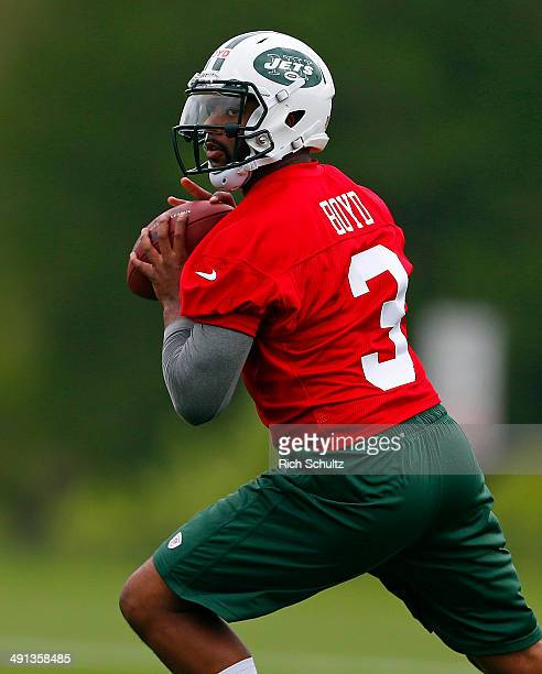 Quarter Back Tajh Boyd of the New York Jets looks to pass during the first day of rookie minicamp on May 16 2014 in Florham Park New Jersey
