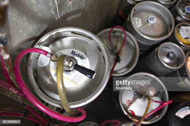 A quarter keg of Constellation Brands Inc Modelo beer sits inside a cooler at a restaurant in Ottawa Illinois US on Tuesday June 27 2017...