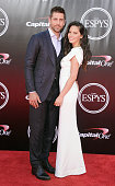 NFL quarterback Aaron Rodgers and actress Olivia Munn arrive at The 2016 ESPYS at Microsoft Theater on July 13 2016 in Los Angeles California
