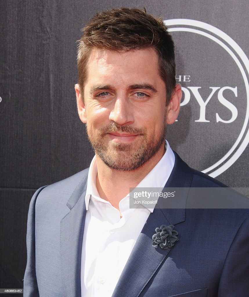 NFL quarterback Aaron Rodgers arrives at The 2015 ESPYS at Microsoft Theater on July 15 2015 in Los Angeles California