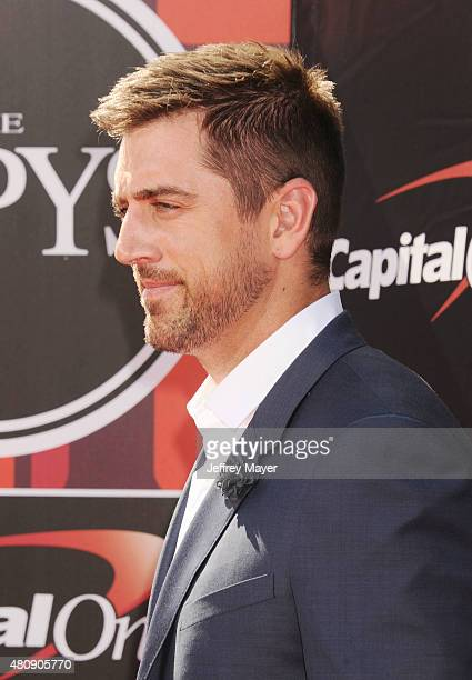 NFL quarterback Aaron Rodgers arrives at the The 2015 ESPYS at Microsoft Theater on July 15 2015 in Los Angeles California