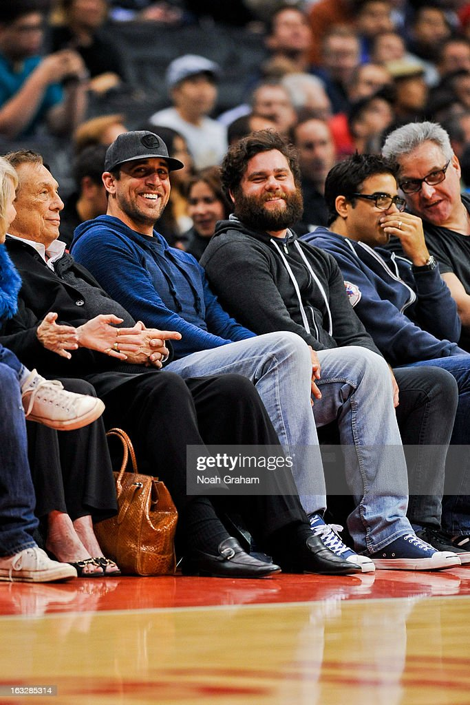 NFL quarterback Aaron Rodgers attends a game between the Milwaukee Bucks and Los Angeles Clippers at Staples Center on March 6, 2013 in Los Angeles, California.