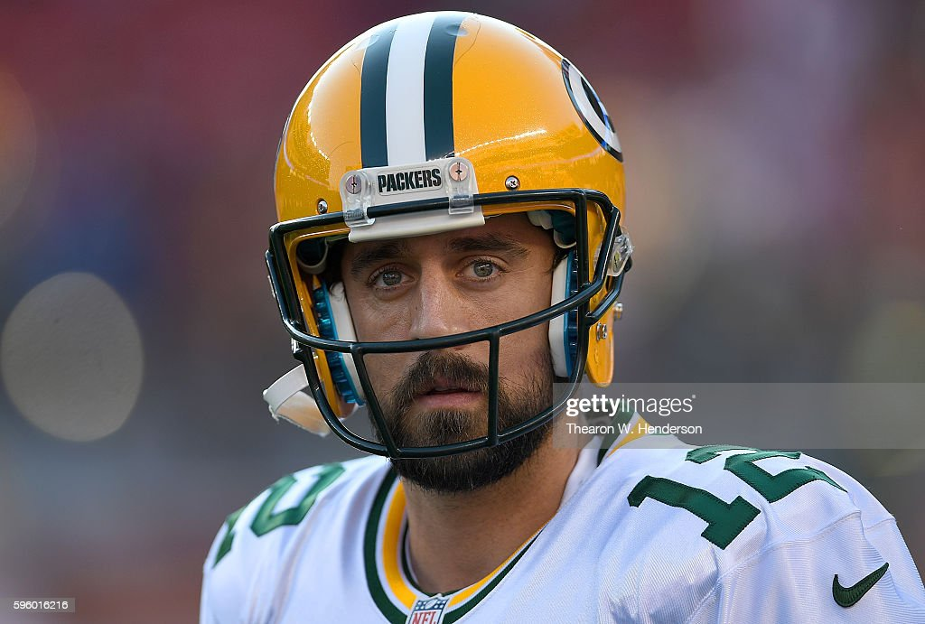 Quarterback Aaron Rodgers #12 of the Green Bay Packers looks on during pregame warm ups prior to playing the San Francisco 49ers in a preseason game at Levi's Stadium on August 26, 2016 in Santa Clara, California.