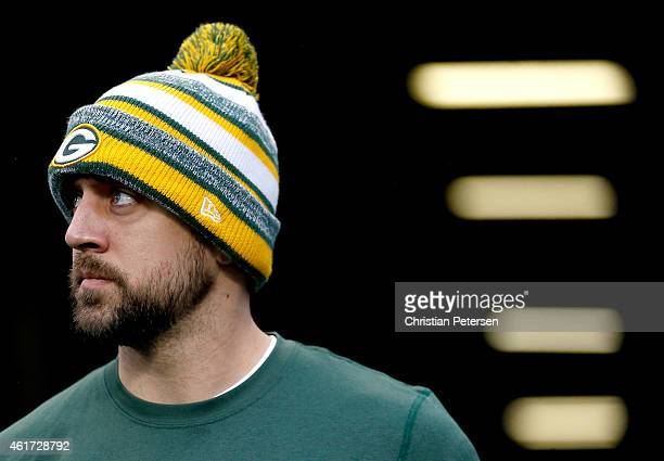 Quarterback Aaron Rodgers of the Green Bay Packers warms up before the 2015 NFC Championship game against the Seattle Seahawks at CenturyLink Field...