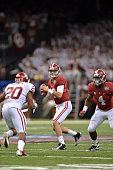 Quarterback AJ McCarron of the Alabama Crimson Tide drops back to pass during their loss to the Oklahoma Sooners in the BCS Sugar Bowl on January 2...
