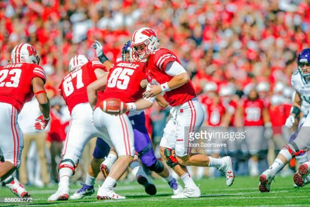 UW quarterback Alex Hornibrook prepares to hand off to UW running back Jonathan Taylor during the Big Ten football season opener between the...