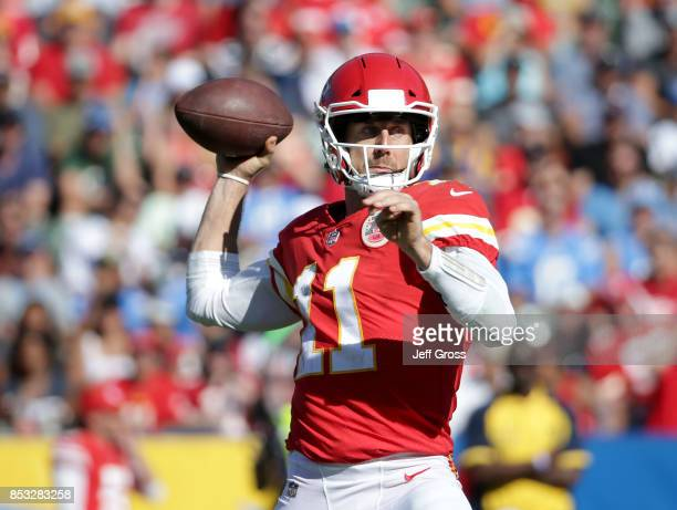 Quarterback Alex Smith of the Kansas City Chiefs drops back to pass against the Los Angeles Chargers during the second half at StubHub Center on...
