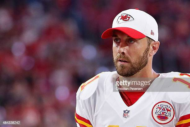 Quarterback Alex Smith of the Kansas City Chiefs on the sidelines during the preseason NFL game against the Arizona Cardinals at the University of...