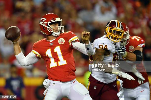 Quarterback Alex Smith of the Kansas City Chiefs passes during the game against the Washington Redskins at Arrowhead Stadium on October 2 2017 in...