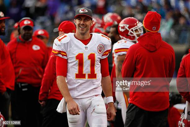 Quarterback Alex Smith of the Kansas City Chiefs smiles during the closing minutes of the Chiefs 3414 win over the Baltimore Ravens at MT Bank...