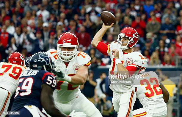 Quarterback Alex Smith of the Kansas City Chiefs throws a pass against the Houston Texans during the first quarter of the AFC Wild Card Playoff game...