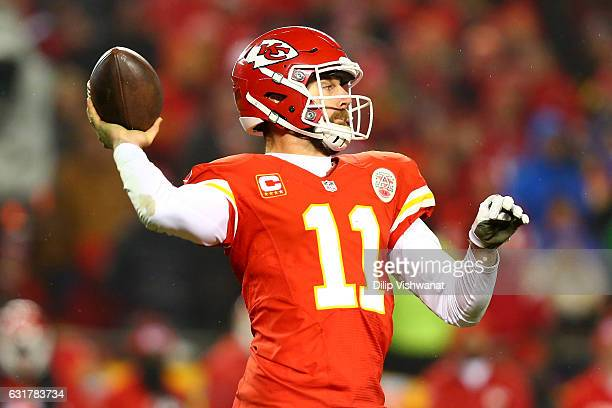 Quarterback Alex Smith of the Kansas City Chiefs throws a pass against the Pittsburgh Steelers in the second half in the AFC Divisional Playoff game...
