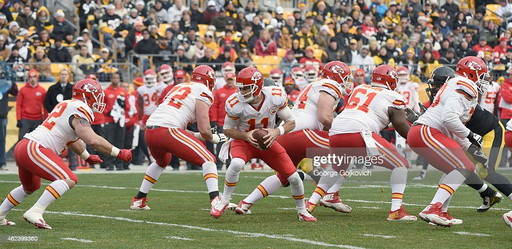 Quarterback <a gi-track='captionPersonalityLinkClicked' href=/galleries/search?phrase=Alex+Smith+-+American+Football+Quarterback&family=editorial&specificpeople=4584854 ng-click='$event.stopPropagation()'>Alex Smith</a> #11 of the Kansas City Chiefs turns to hand off to fullback <a gi-track='captionPersonalityLinkClicked' href=/galleries/search?phrase=Anthony+Sherman&family=editorial&specificpeople=5571580 ng-click='$event.stopPropagation()'>Anthony Sherman</a> #42 as offensive linemen <a gi-track='captionPersonalityLinkClicked' href=/galleries/search?phrase=Eric+Fisher+-+American+Football+Player&family=editorial&specificpeople=10866831 ng-click='$event.stopPropagation()'>Eric Fisher</a> #72, Jeff Linkenbach #74, <a gi-track='captionPersonalityLinkClicked' href=/galleries/search?phrase=Rodney+Hudson&family=editorial&specificpeople=4650654 ng-click='$event.stopPropagation()'>Rodney Hudson</a> #61 and <a gi-track='captionPersonalityLinkClicked' href=/galleries/search?phrase=Zach+Fulton&family=editorial&specificpeople=9701726 ng-click='$event.stopPropagation()'>Zach Fulton</a> #73 block during a game against the Pittsburgh Steelers at Heinz Field on December 21, 2014 in Pittsburgh, Pennsylvania. The Steelers defeated the Chiefs 20-12.