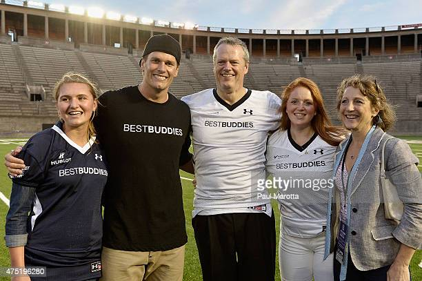 NFL quarterback and Best Buddies Challenge honorary cochair Tom Brady poses with Governor of Massachusetts Charlie Baker at the Tom Brady Football...
