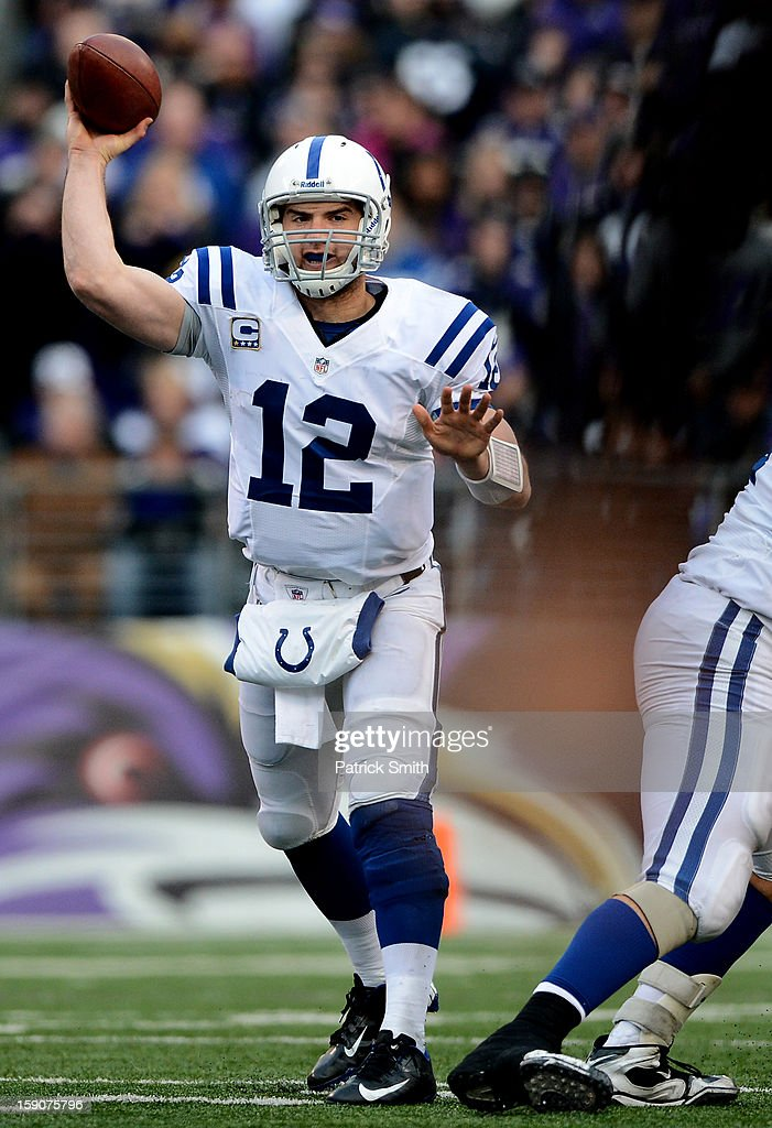 Quarterback Andrew Luck #12 of the Indianapolis Colts against the Baltimore Ravens during the AFC Wild Card Playoff Game at M&T Bank Stadium on January 6, 2013 in Baltimore, Maryland.