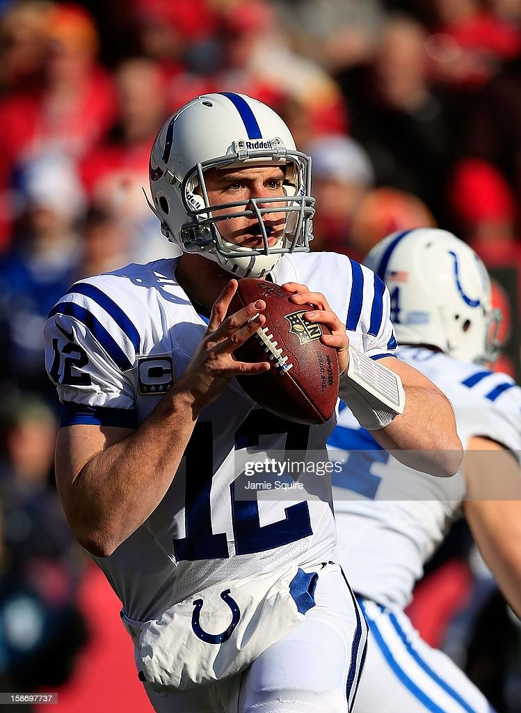 Quarterback Andrew Luck #12 of the Indianapolis Colts in action during the game against the Kansas City Chiefs at Arrowhead Stadium on December 23, 2012 in Kansas City, Missouri.