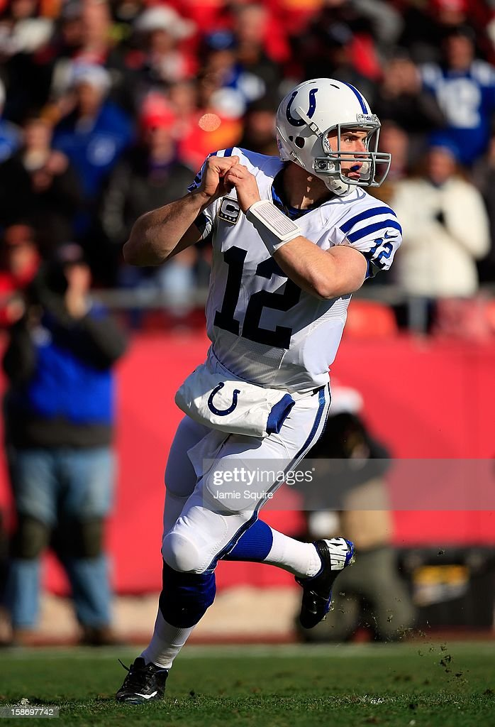 Quarterback <a gi-track='captionPersonalityLinkClicked' href=/galleries/search?phrase=Andrew+Luck&family=editorial&specificpeople=6258221 ng-click='$event.stopPropagation()'>Andrew Luck</a> #12 of the Indianapolis Colts in action during the game against the Kansas City Chiefs at Arrowhead Stadium on December 23, 2012 in Kansas City, Missouri.