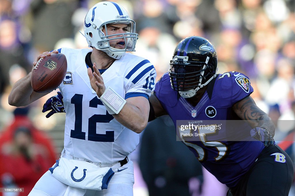 Quarterback Andrew Luck #12 of the Indianapolis Colts is hit by linebacker Terrell Suggs #55 of the Baltimore Ravens during the AFC Wild Card Playoff Game at M&T Bank Stadium on January 6, 2013 in Baltimore, Maryland.