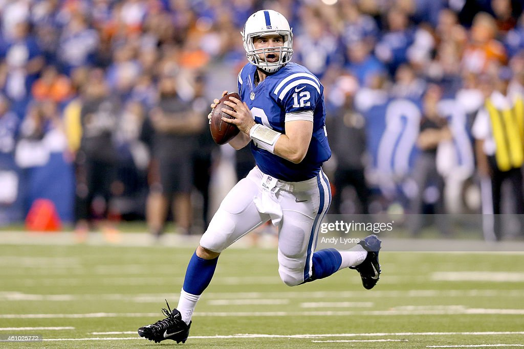 Quarterback Andrew Luck #12 of the Indianapolis Colts looks to throw against the Cincinnati Bengals in the second half during their AFC Wild Card game at Lucas Oil Stadium on January 4, 2015 in Indianapolis, Indiana.