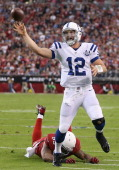 Quarterback Andrew Luck of the Indianapolis Colts throws a pass pressured by outside linebacker John Abraham of the Arizona Cardinals during the...