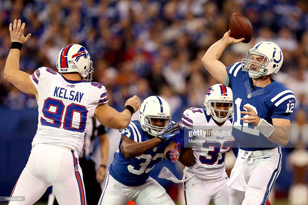 Quarterback Andrew Luck #12 of the Indianapolis Colts throws against the Buffalo Bills at Lucas Oil Stadium on November 25, 2012 in Indianapolis, Indiana.