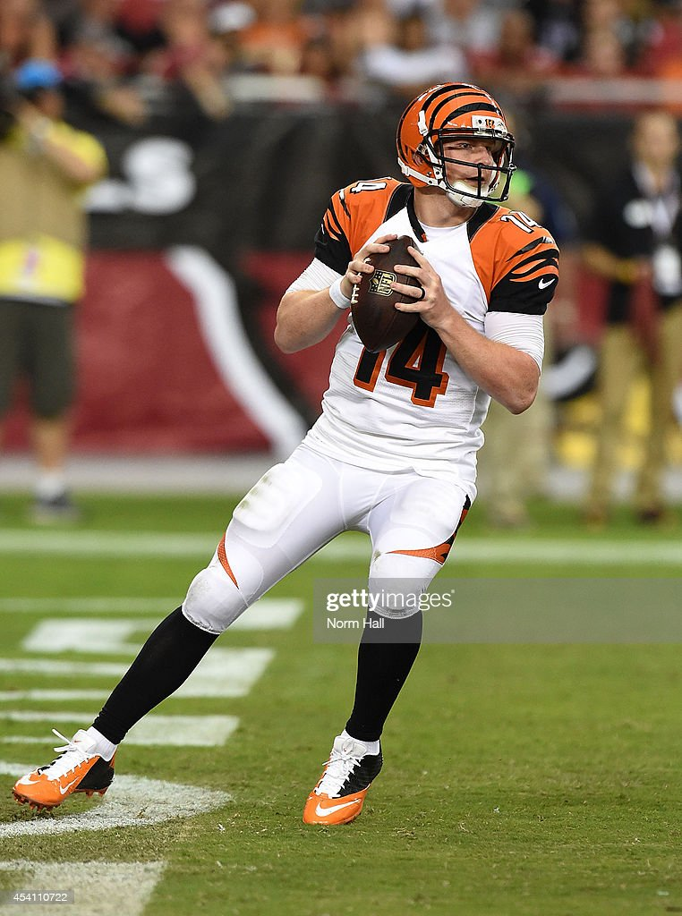 Quarterback <a gi-track='captionPersonalityLinkClicked' href=/galleries/search?phrase=Andy+Dalton+-+American+Football+Player&family=editorial&specificpeople=15271549 ng-click='$event.stopPropagation()'>Andy Dalton</a> #14 of the Cincinnati Bengals drops back to pass during a preseason NFL game against the Arizona Cardinals at University of Phoenix Stadium on August 24, 2014 in Glendale, Arizona.