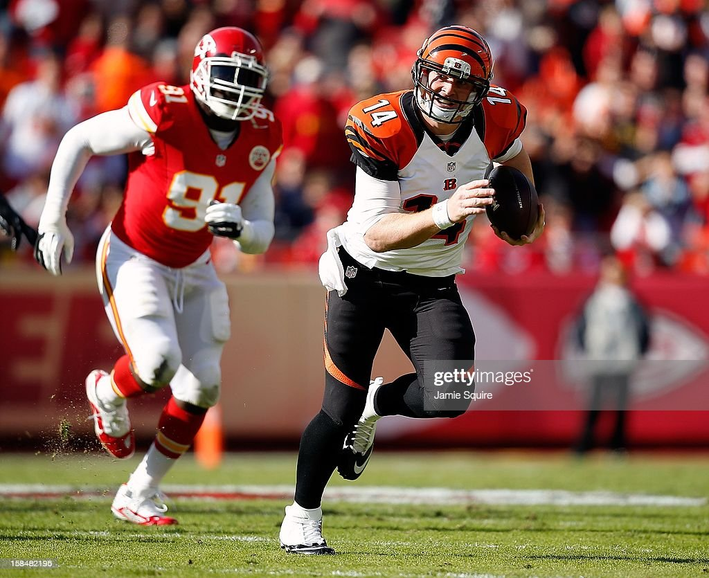 Quarterback <a gi-track='captionPersonalityLinkClicked' href=/galleries/search?phrase=Andy+Dalton+-+American+Football+Player&family=editorial&specificpeople=15271549 ng-click='$event.stopPropagation()'>Andy Dalton</a> #14 of the Cincinnati Bengals in action during the game against the Kansas City Chiefs at Arrowhead Stadium on November 18, 2012 in Kansas City, Missouri.