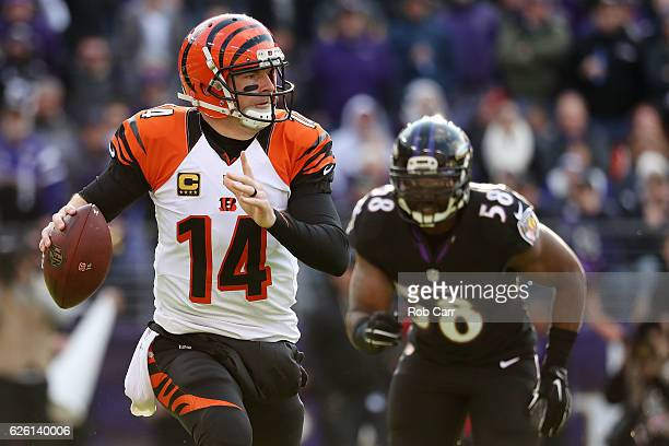 Quarterback Andy Dalton of the Cincinnati Bengals looks to pass while under pressure from outside linebacker Elvis Dumervil of the Baltimore Ravens...