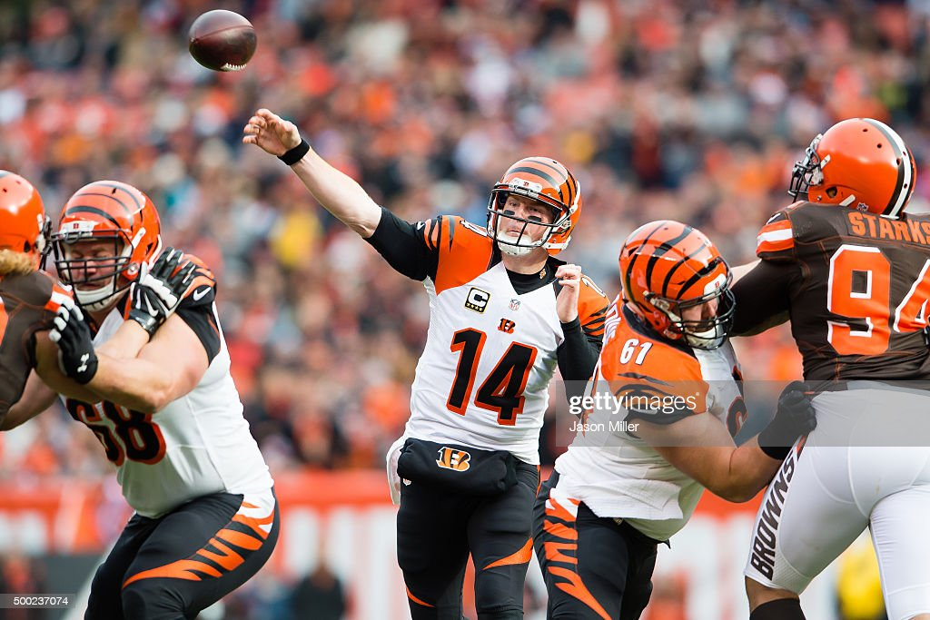 Quarterback Andy Dalton of the Cincinnati Bengals passes during the first half against the Cleveland Browns at FirstEnergy Stadium on December 6 2015...