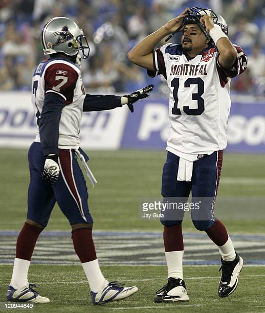 Quarterback Anthony Calvillo can't believe it after throwing 5 interceptions tonight in a 316 loss vs the Toronto Argonauts in Canadian Football...
