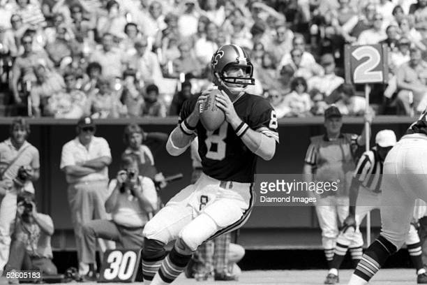 Quarterback Archie Manning of the New Orleans Saints drops back to pass during a game on September 24 1978 against the Cincinnati Bengals at...
