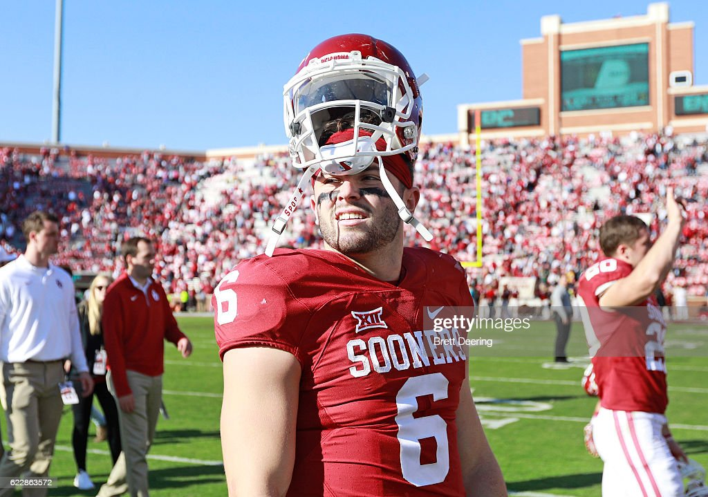 Quarterback Baker Mayfield #6 of the Oklahoma Sooners after the game against the Baylor Bears November 12, 2016 at Gaylord Family-Oklahoma Memorial Stadium in Norman, Oklahoma. Oklahoma defeated Baylor 45-24.