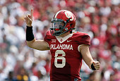 Quarterback Baker Mayfield of the Oklahoma Sooners yells a play against the West Virginia Mountaineers October 3 2015 at Gaylord FamilyOklahoma...