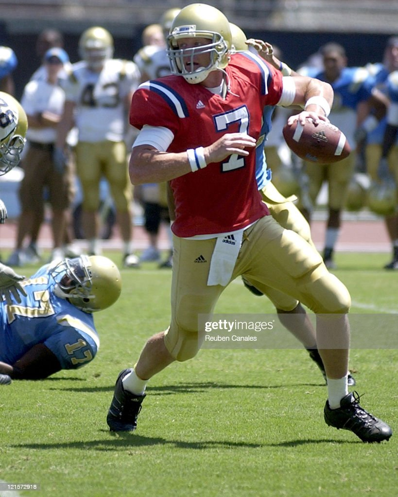 UCLA quarterback Ben Olson rolls out during the Blue and White scrimmage held at Drake Stadium August 19 2006 in Westwood California