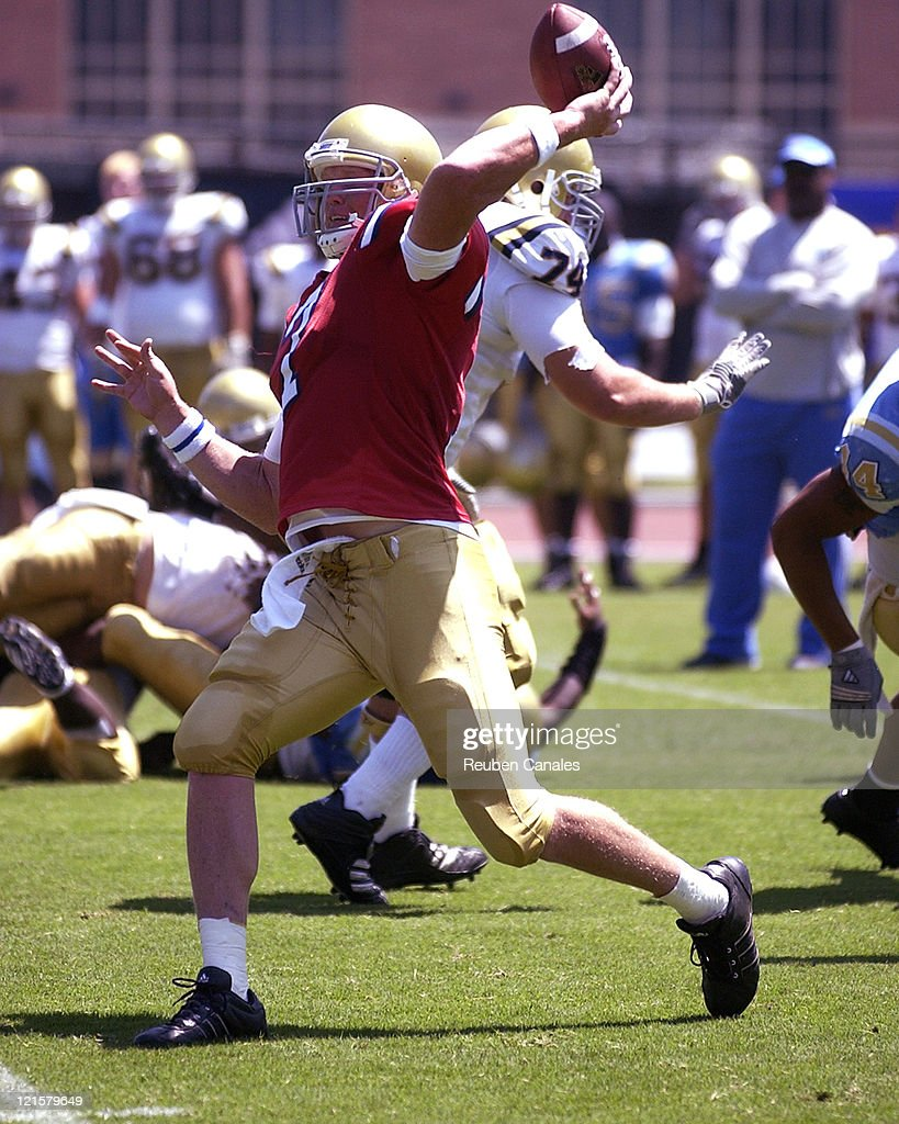 UCLA quarterback Ben Olson throws downfield in the Blue and White scrimmage held at Drake Stadium August 19 2006 in Westwood California