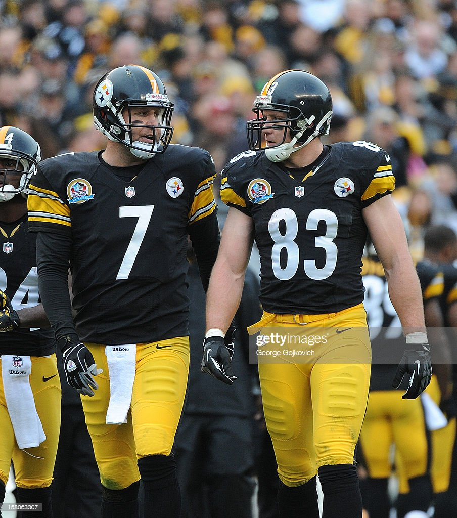 Quarterback Ben Roethlisberger #7 and tight end Heath Miller #83 of the Pittsburgh Steelers talk as they walk on the field during a game against the San Diego Chargers at Heinz Field on December 9, 2012 in Pittsburgh, Pennsylvania. The Chargers defeated the Steelers 34-24.