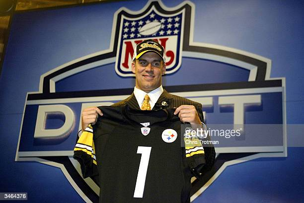 Quarterback Ben Roethlisberger is seen after being selected 11th overall by the Pittsburgh Steelers during the 2004 NFL Draft on April 24 2004 at...