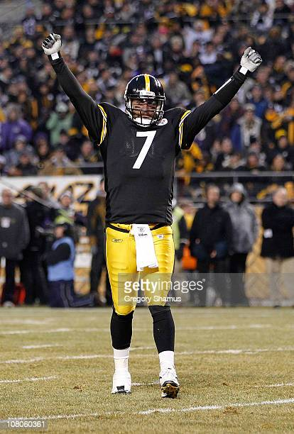 Quarterback Ben Roethlisberger of the Pittsburgh Steelers celebrates a touchdown against the Baltimore Ravens in the first quarter of the AFC...